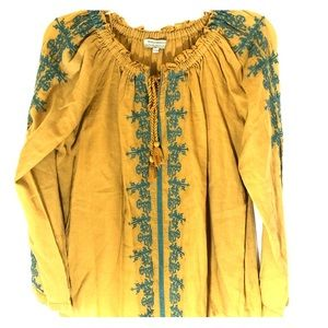 World market smocked and embroidered top